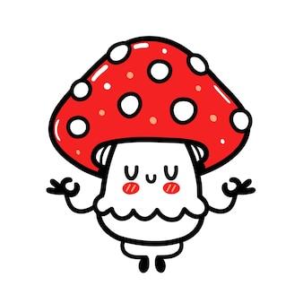 Cute funny happy amanita mushroom meditate in yoga pose