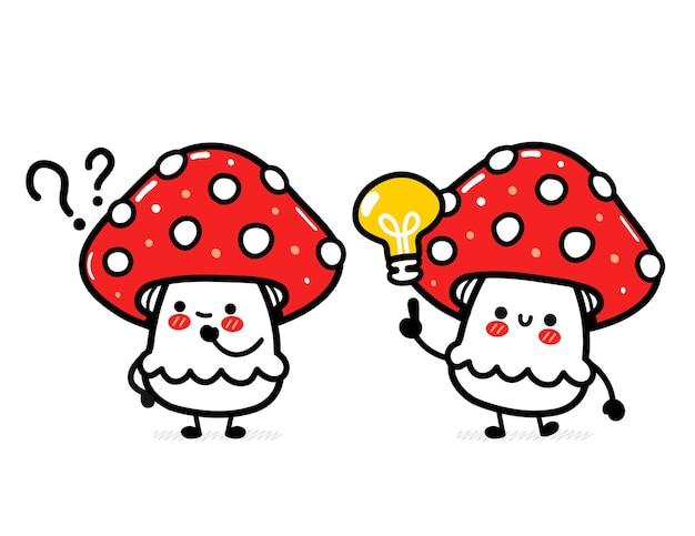 Cute funny happy amanita mushroom with question mark and idea lightbulb