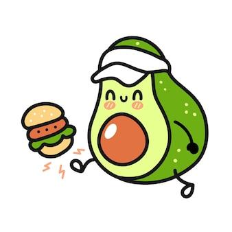 Cute funny happy avocado kick burger