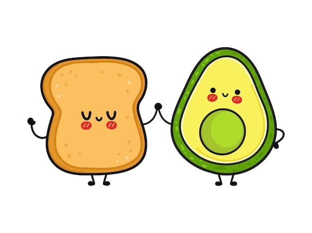 Cute funny happy bread and avocado character