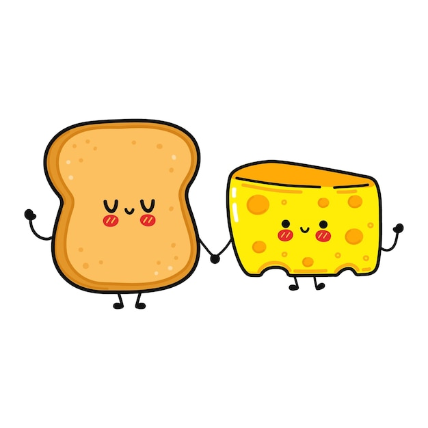 Cute funny happy bread and cheese character