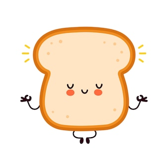 Cute funny happy bread toast character meditate.