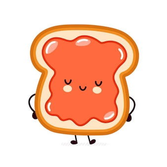 Cute funny happy bread toast with jam character