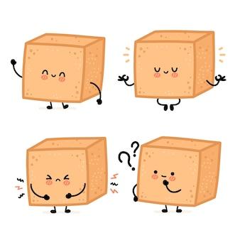 Милый забавный счастливый коричневый тростниковый сахар кусок кубика персонаж