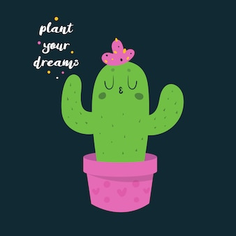 Cute funny happy cactus in pink pot with hearts.