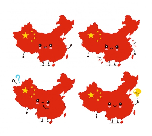 Cute funny happy china map and flag character set collection.