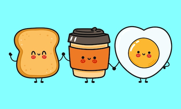 Cute funny happy coffee paper cup toast and fried egg character