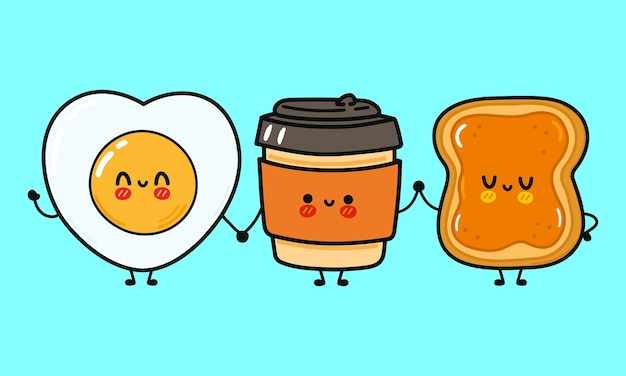 Cute funny happy coffee paper cup toast with honey and fried egg character