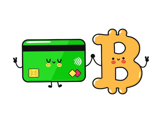 かわいい面白い幸せなクレジットカードとビットコインのキャラクター