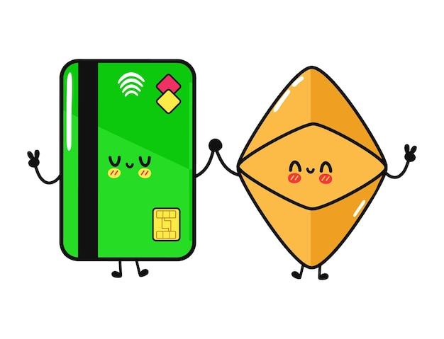 かわいい面白い幸せなクレジットカードとイーサリアムのキャラクター