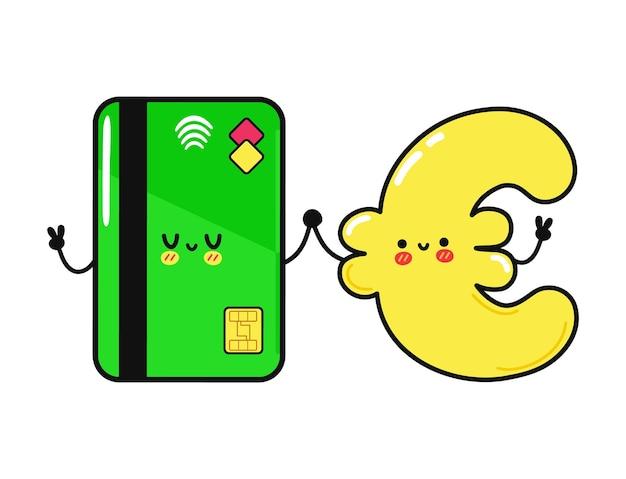 귀여운 재미 있는 행복 신용 카드와 유로 문자