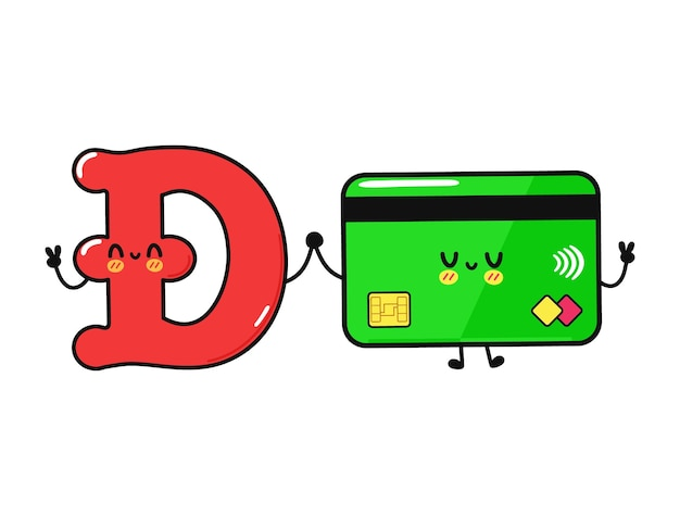 Cute funny happy credit card and  dogecoin character