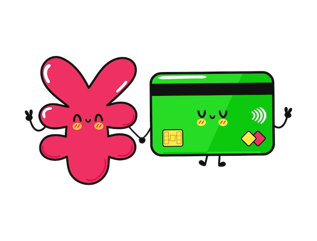 Cute funny happy credit card and  japanese yen character