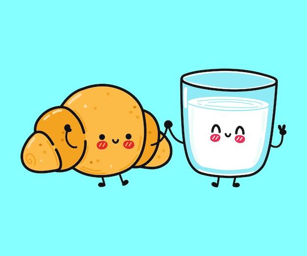 かわいい面白い幸せなクロワッサンとコーヒーの紙コップのキャラクター