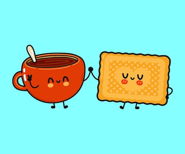 Cute funny happy cup of coffee and cookies character
