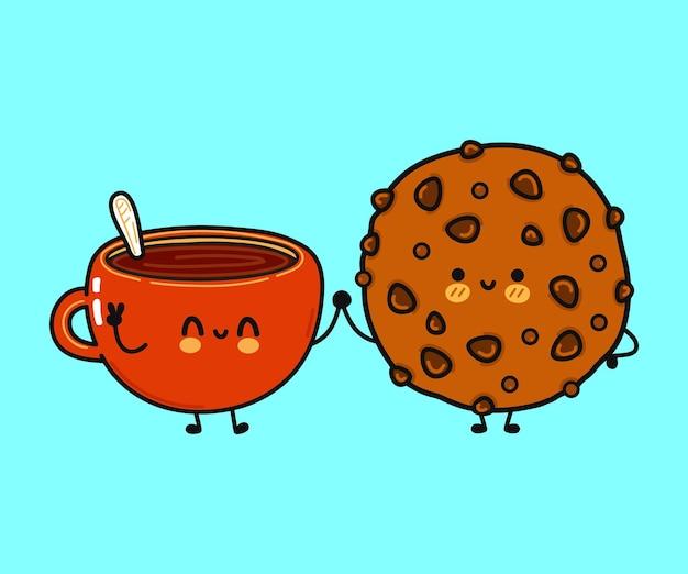 コーヒーとチョコレートクッキーのキャラクターのかわいい面白い幸せなカップ