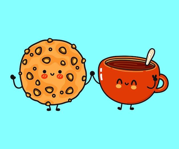 Симпатичная смешная счастливая чашка кофе и персонаж овсяного печенья