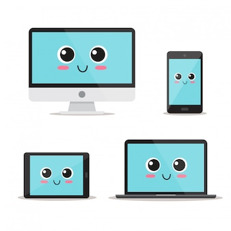 Cute, funny and happy devices set character