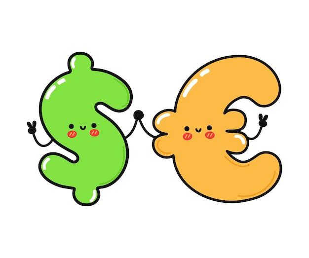 Милый забавный счастливый символ доллара и евро