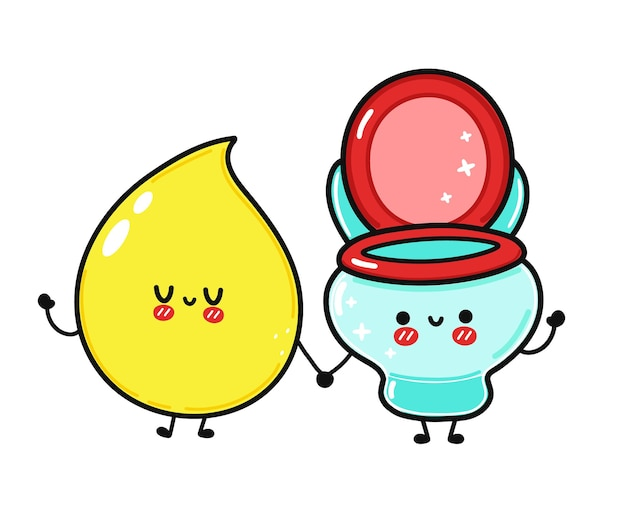 Cute funny happy drop of urine and  toilet character