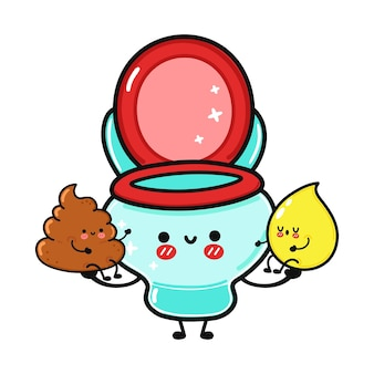 Cute funny happy drop of urine turd and toilet character