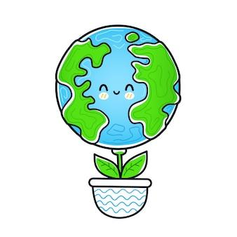귀엽고 재미있는 행복한 지구 행성은 냄비에 있는 꽃 식물처럼 자랍니다. 벡터 낙서 손으로 그린 만화 귀여운 캐릭터 그림 아이콘. 흰색 배경에 고립. 에코, 지구 생태, 자연, 식물 개념