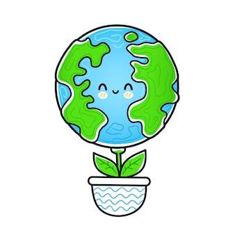 Cute funny happy earth planet grow like flower plant in pot. vector doodle hand drawn cartoon kawaii character illustration icon. isolated on white background. eco, earth ecology,nature,plants concept