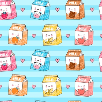 Cute funny happy flavored milk box and hearts seamless pattern