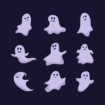 Cute funny happy ghosts. magic cartoon childish vector phantoms with different emotions. vector festive set for halloween poster, greeting card, invitation.
