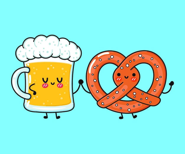 Cute funny happy glass of beer and pretzel