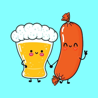 Cute funny happy glass of beer and sausage