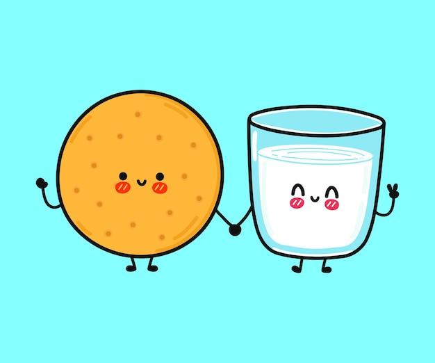 ミルクとクッキーのキャラクターのかわいい面白い幸せなガラス