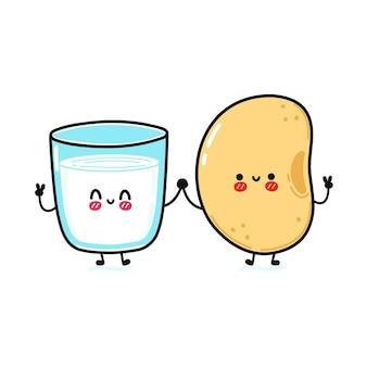 Симпатичный смешной счастливый стакан молока и сои