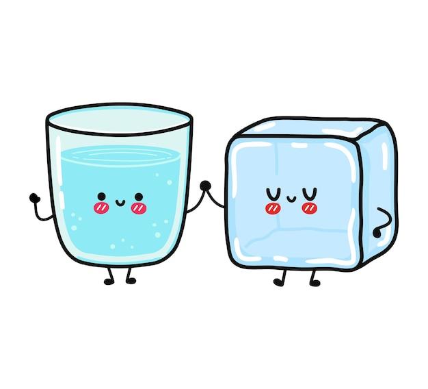 水と氷のキャラクターのかわいい面白い幸せなガラス