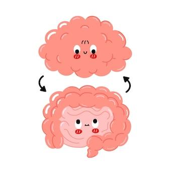 かわいい面白い幸せな人間の腸と脳の臓器と円の矢印。ベクトル漫画かわいいキャラクターイラストアイコン。白い背景で隔離。脳と腸の漫画落書きキャラクターコンセプト
