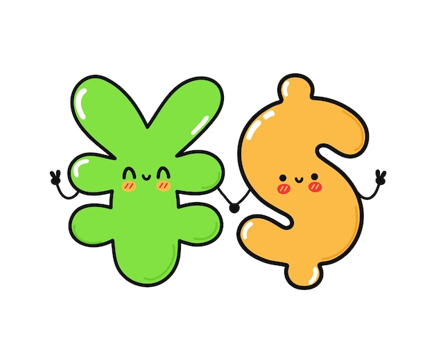 Cute funny happy japanese yen and dollar character