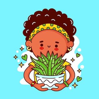 냄비에 즙이 많은 식물을 가진 귀여운 재미있는 행복한 아가씨. 벡터 플랫 라인 만화 귀여운 캐릭터 그림 로고 아이콘입니다. 여자, 여자 보유 houseplant, 냄비 개념에 즙이 많은 식물