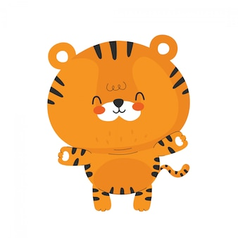 Cute funny happy little tiger.