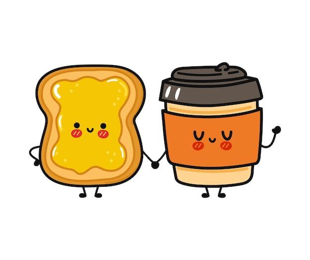 かわいい面白い幸せな紙コップと蜂蜜のキャラクターとトースト