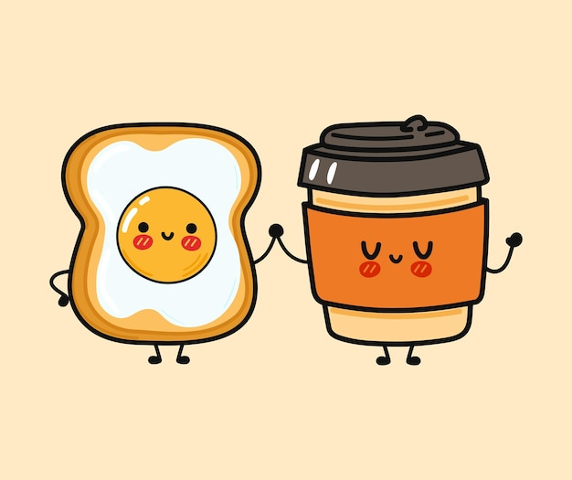 Cute funny happy paper cup and bread with eggs character