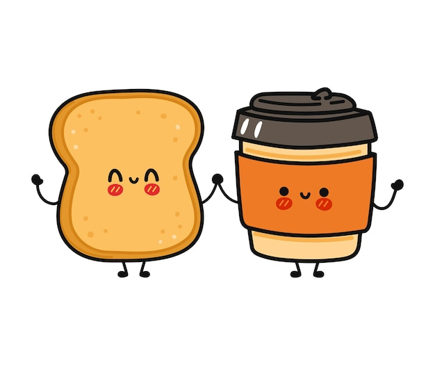 Cute funny happy paper cup and toast character friends concept