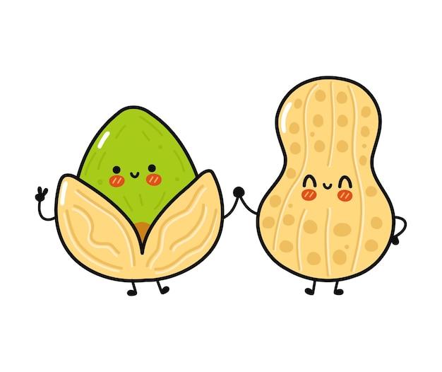 かわいい、面白い幸せなピーナッツとピスタチオのキャラクター