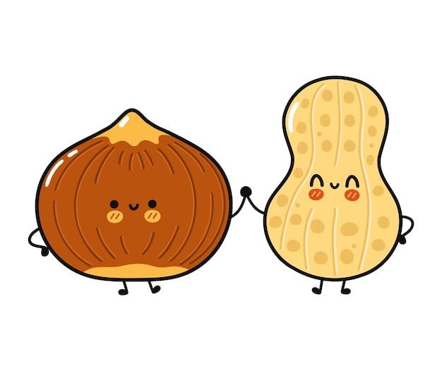 Cute funny happy peanut and hazelnut character