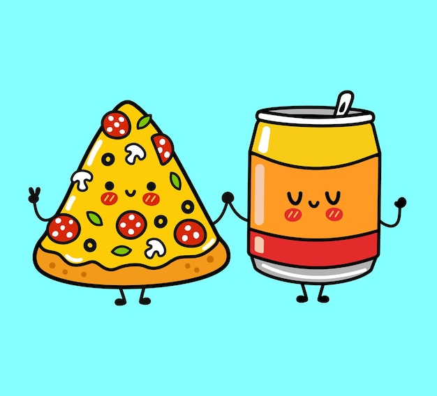 귀엽고 재미있는 행복한 피자와 소다 캐릭터