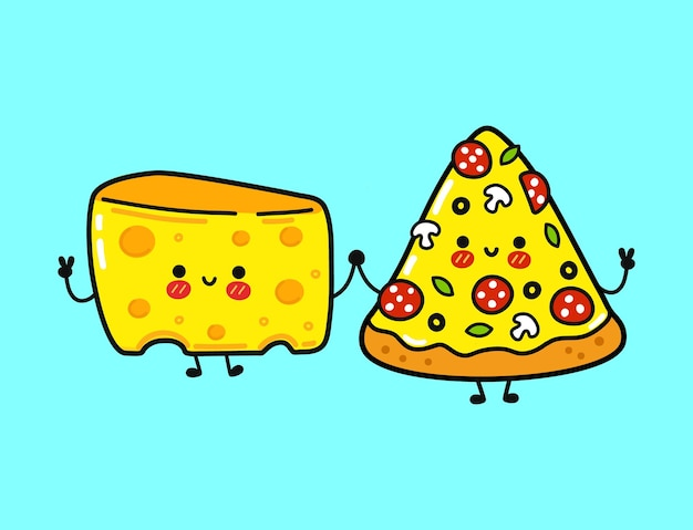 Cute funny happy pizza and cheese character