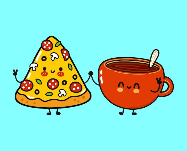 Cute funny happy pizza and cup of coffee character