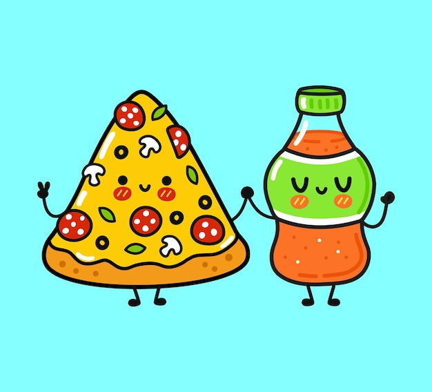 Cute funny happy pizza and soda character