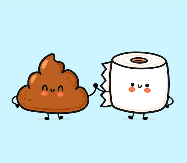 Cute funny happy poop and toilet paper friends