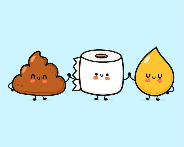 Cute funny happy poop,urine drop and toilet paper