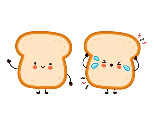 Cute funny happy and sad bread toast character.